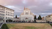 Florence, 4 March 2019: Basilica of Santa Maria Novella in the homonym square. Timelapse in Florence. Cloudy sky in march. Italy. Dostupné videozáznamy