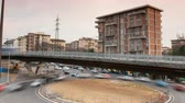 Florence, 2 March 2019: Timelapse of traffic cars and tramway at Novoli district in Florence. Italy.