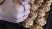 profiterole : Preparation of sweet cakes, cream puff rings cakes (eclair), custard cream ring Stock Footage