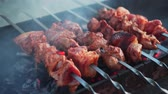 Closeup of skewers with pieces of meat on the coals in the grill. Barbecue. Grilled pieces of pork or lamb meat. Grill pieces of meat on the grill while relaxing.