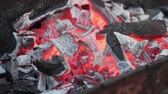Close-up hot coals on the grill. The coals are warmed to red in the grill. 動画素材