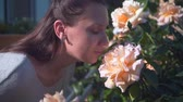 сбалансированный : A woman gently touches and sniffs peach roses. A beautiful woman and huge peach-smelling roses blooming in the garden.