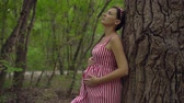 fertilidade : Pregnant girl in the park on a background of green trees. A girl with long dark hair in a striped white-red dress stands leaning on a tree in the park and stroking her tummy.