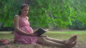 doğurganlık : A pregnant girl sitting on the grass in the park. A happy girl with long dark hair in a striped white-red dress is reading a book. In the background, trees, people passing by. Stok Video