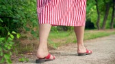yalınayak : Close-up view of female legs walking the walkway in the park. A girl in sandals and a striped dress walks through the park. Closeup view of female legs walking Stok Video