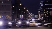 winter : MOSCOW, RUSSIA - DECEMBER 12, 2013: Timelapse of city traffic at night on Academician Sakharov Prospect Stock Footage