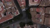 serrano : Flying over house roofs and Serranos Towers in Valencia, Spain. Ancient city gate in Valencian Gothic style built between 1392 and 1398 Stock Footage