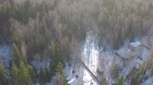 forest drone : Aerial shot of snowy countryside houses in the woods. Winter scene of village among bare birches and green fir trees