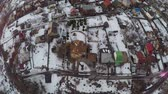 sociedade : Aerial winter view of Russian township with private houses and cottages
