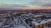 havasi levegő : Aerial shot of Saint Petersburg at dawn. Winter city with view to industrial and housing areas, Russia