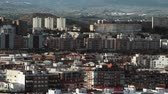 Alicante view with many apartment blocks and hills in background, Spain Stock Footage