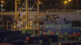 haulage : Evening view of industrial port with machines transporting containers and cranes loading cargo ship