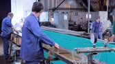 steel : Work on the production of heating equipment factory Stock Footage