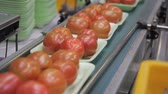 посылка : Plastic pallets with red tomatoes moving along automatic line in supermarket.