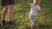 親であること : American father walks with small son in green park in summer, young man and cute boy are having good time together, parent holds child by hand, going on grass in open air. Concept: first step, relax,  動画素材