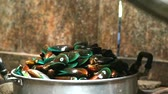 mussel dish : Hot mussels when the lid is opened with steam seafood good smell