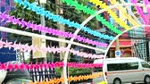 pattaya : Chonburi Thailand,-May 13 2019: rainbow windmill toy is decorated at shopping mall2 Stock Footage