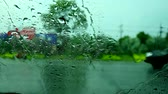 chofer : view inside car, driver parking car beside road because rain drop heavy storm wind1 Archivo de Video