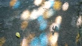 sombra : Light reflected on the floor from the stained glass and the shadow of the leaves in the garden Stock Footage