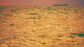 vento : cargo ship parking on sea and blur foreground wave on surface Filmati Stock