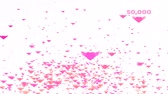 Million pink hearts wing flying and count and valentine text 動画素材
