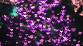 czerwona róża : hearts falling on the floor and blur pink shape heart background