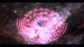magic star purple energy rotate slow appear in space nebula background