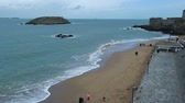 brittany : View of beach of Saint-Malo, walled port city in Brittany in northwestern France on English Channel