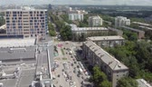 Panoramic view of a city traffic. Timelapse
