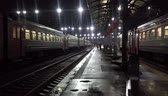wagons : Night train station in dark rainy weather