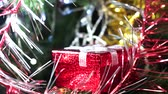 noel kartı : red gift box for new year Christmas closeup. The concept of holiday gifts