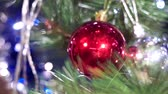 kerstbal : Christmas decor red ball closeup. New year Christmas