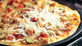 impasto pizza : sprinkle the pizza with cheese closeup. Cooking homemade pizza, cooking homemade food.