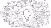 Idea - Hand-drawn infographics. Infographics issuing freehand drawing. Light bulb symbolizing an idea. Around her unfold the other elements. It is an infographics on the alpha channel.