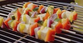 spring onion : Healthy colorful kebabs with fresh vegetables