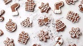 papai noel : Composition of delicious gingerbread cookies shaped with Christmas theme. Placed on white rusty table. Top view.