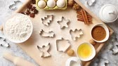 christmas recipes : Delicious fresh and healthy ingredients for Christmas gingerbread. Placed on a wooden pastry board. View from above.