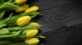 благодарность : Composition of fresh yellow tulips placed in row on black rustic wooden table. Spring theme with copy space. Selective focus.