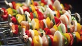 grill marinade : Colorful and tasty grilled shashliks on outdoor summer barbecue. Garden party idea