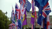 democrático : LONDON - OCTOBER 23, 2019: Brexit demonstration with flags waving in slow motion in the breeze outside the Houses of Parliament