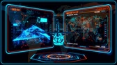 combattente : 3D Blue Orange Helicopter HUD Interface Motion Graphic Element