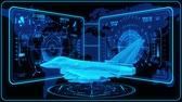 combattente : 3D Blue Jet Fighter HUD Interface Motion Graphic Element