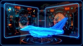 combattente : 3D Blue Orange Jet Fighter HUD Interface Motion Graphic Element Filmati Stock