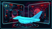 combattente : 3D Red Blue Jet Fighter HUD Interface Motion Graphic Element Filmati Stock