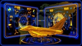 combattente : 3D Yellow Blue Jet Fighter HUD Interface Motion Graphic Element
