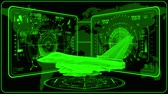 combattente : 3D Green Jet Fighter HUD Interface Motion Graphic Element
