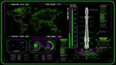 rocket : 3D Green Magenta HUD Rocket Interface Motion Graphic Element