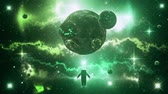 Green Sci-Fi Space Planets with Nebula & Astronaut Loop Background Archivo de Video