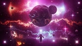 astronauta : Orange Purple Sci-Fi Space Planets with Nebula & Astronaut Loop Background