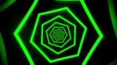 fluoreszkáló : Green Neon Hexagons Tunnel VJ Loop Motion Graphic Background